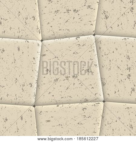 Seamless background of sidewalk tiles abstract grunge texture vector illustration.
