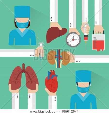 Transplantation Human organ design flat with surgeon.Vector illustration