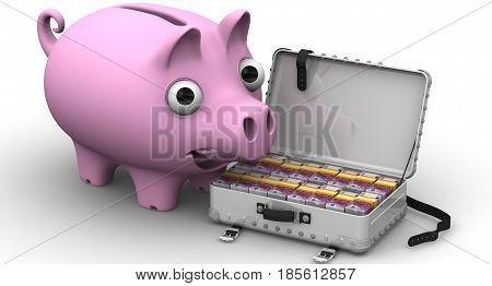 Financial success. Satisfied piggy bank standing next to open suitcase filled with European banknotes. The concept of financial success. 3D Illustration