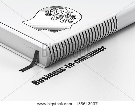 Finance concept: closed book with Black Head With Finance Symbol icon and text Business-to-consumer on floor, white background, 3D rendering
