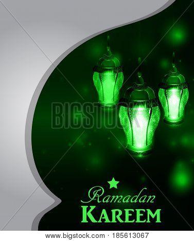 Vector illustration glass light on dark background in paper window