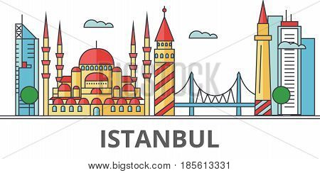Istanbul city skyline. Buildings, streets, silhouette, architecture, landscape, panorama, landmarks. Editable strokes. Flat design line vector illustration concept. Isolated icons on white background