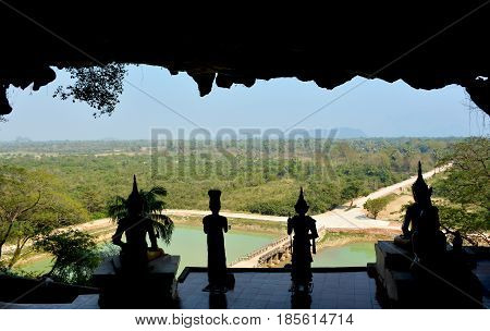 View from terrace of Yathaypyan Cave to the surrounding spaces. Kayin State Hpa-An Myanmar.