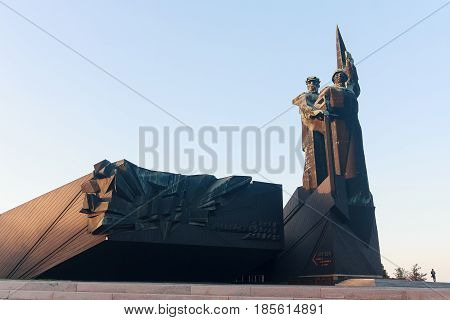 Donetsk Ukraine - April 29, 2017: Monument to the liberator and Donbass in the Second World War