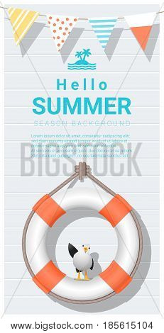 Hello summer background with lifebuoy , vector , illustration