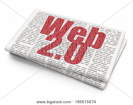 Web development concept: Pixelated red text Web 2.0 on Newspaper background, 3D rendering