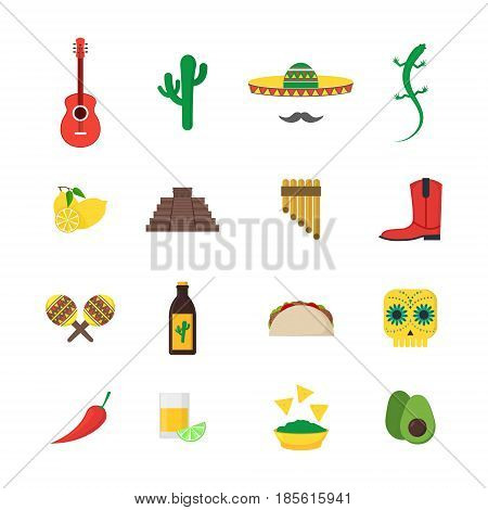 Cartoon Mexican Culture Color Icons Set Concept Travel and Tourism Flat Style Design. Vector illustration