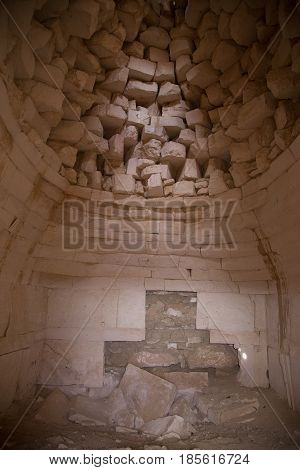 Inside an abandoned Muslim tomb shrine in ancient Muslim necropolis in the Kazakhstan desert