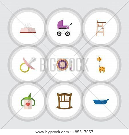 Flat Baby Set Of Child Chair, Toy, Bathtub And Other Vector Objects. Also Includes Bathtub, Napkin, Bed Elements.