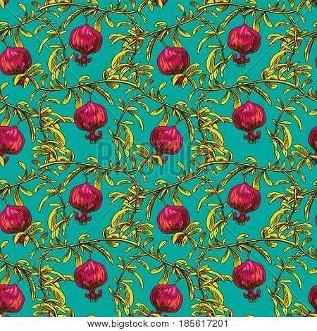 Hand drawn vector seamless pattern with pomegranate. Us for skrapbuking, tissue, textile, cloth, fabric, web material