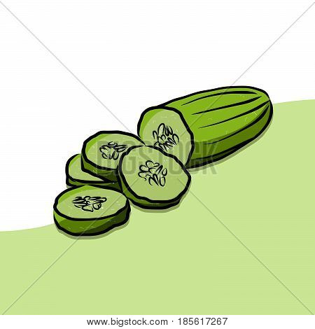 Colored Cuke Vector Artwork