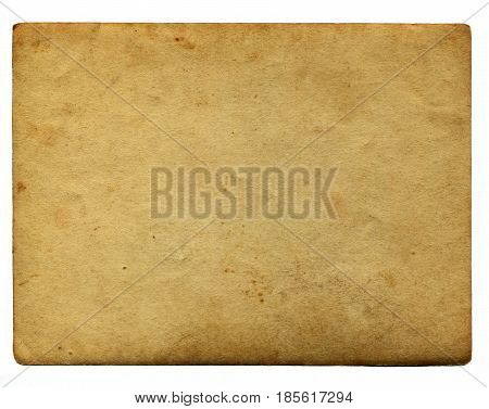 Weathered paper useful as a background. Vintage aging paper with plenty of copy space for text or image. Isolated on white