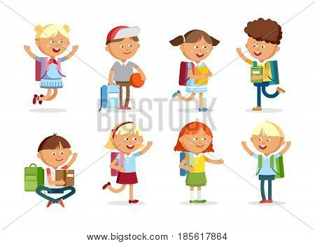 Pupils with school backpacks. Flat illustration group of boys and girls. Happy kids ready come back to school.