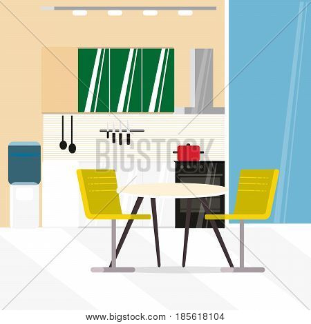 Modern Kitchen Interior vector flat design. Empty No People Kitchen Illustration Kitchen with furniture. Cozy kitchen interior. -stock vector