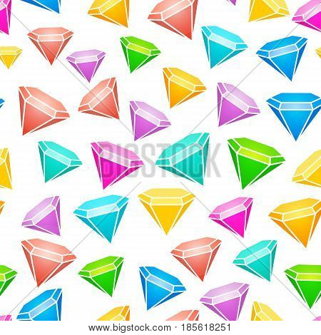 Gem stones seamless pattern. Brilliant and diamonds background.  Vector