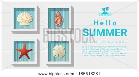 Hello summer background with sea creatures wall art , vector , illustration