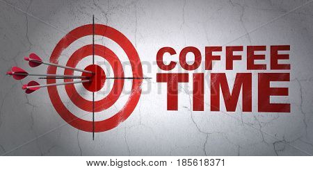 Success time concept: arrows hitting the center of target, Red Coffee Time on wall background, 3D rendering
