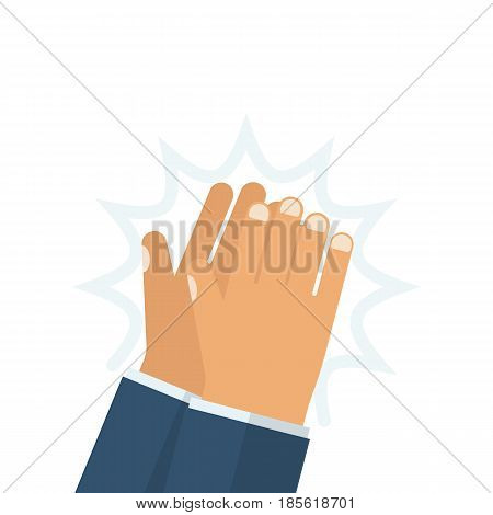 Human hands clapping. Vector illustration flat design. Isolated on white background. Applause clap hands. Gesture bravo.