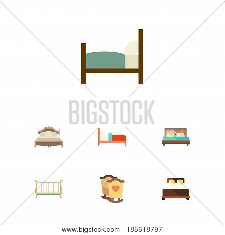 Flat  Set Of Bedroom, Bed, Hostel And Other Vector Objects. Also Includes Double, Cot, Bedroom Elements.