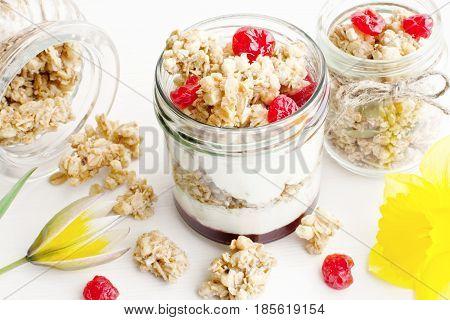 Greek Yogurt With Cherry Jam And Granola