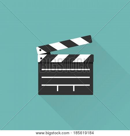 Movie clapper board isolated on background with a long shadow. Open clapperboard. Cinematography concept. Template for the director's instructions, the producer. Vector illustration flat design.