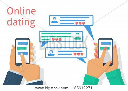 Online dating concept. Man, woman chatting hold smartphone in hand. Isolated white background.  Acquaintance, communication on Internet. Online romance. Loving couple. Vector illustration flat design.