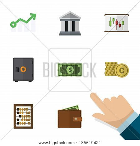 Flat Exchequer Set Of Cash, Strongbox, Bank And Other Vector Objects. Also Includes Abacus, Report, Wallet Elements.