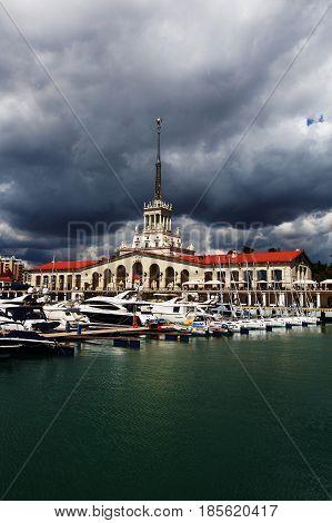 Sochi Russia - April 25 2017: Maritime Station - station complex Port of Sochi in the central region of Sochi Krasnodar Territory Russia.