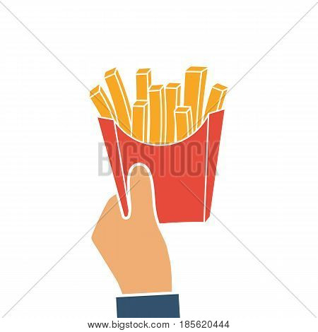 French fries in hands of men. French fries in paper box silhouette. Vector illustration flat style. Isolated on white background. Template design.