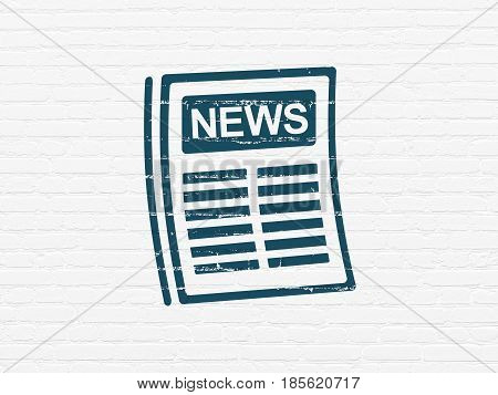 News concept: Painted blue Newspaper icon on White Brick wall background