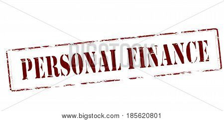 Stamp with text personal finance inside vector illustration