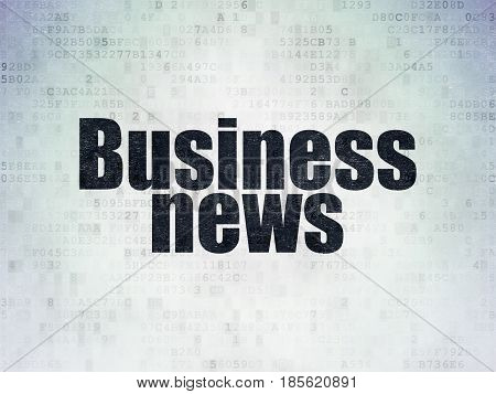 News concept: Painted black word Business News on Digital Data Paper background