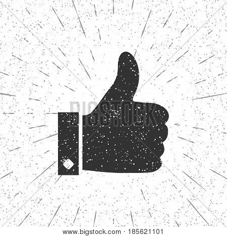 Like silhouette retro style. Finger up black icon isolated on vintage background. Vector illustration flat design. Thumb up pictogram. Gesture hand ok.