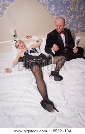 Guest In A Hotel Room And An Annoying Maid Who He Strangled