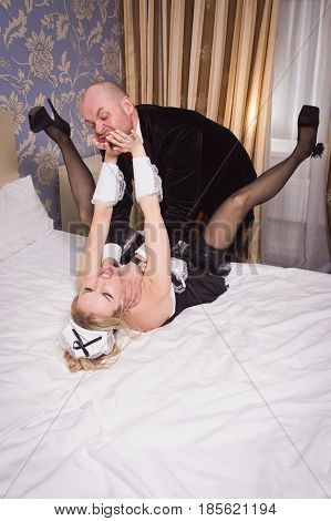 Sexual Chambermaid Bothers The Guest. He Angrily Attacks Her And Strangles Her.