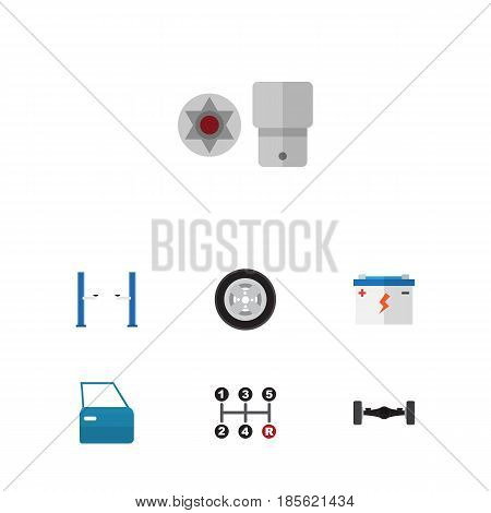 Flat Workshop Set Of Accumulator, Turnscrew, Tire And Other Vector Objects. Also Includes Tire, Lifting, Accumulator Elements.