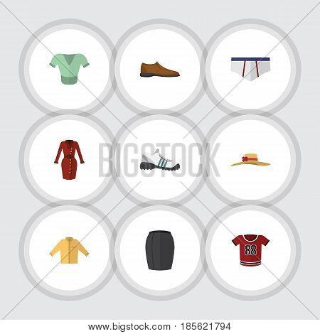 Flat Dress Set Of Male Footware, Clothes, Stylish Apparel And Other Vector Objects. Also Includes Uniform, Shoe, Shirt Elements.