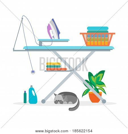 Cartoon Laundry Room Ironing Housework, Clothes and Equipment for Interior Flat Design Style. Vector illustration