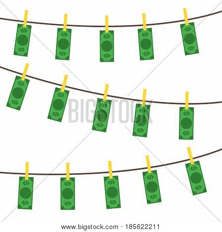 Money Laundering Background Pattern Concept Dirty Currency Banknotes Flat Design Style. Vector illustration