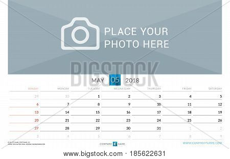 May 2018. Wall Monthly Calendar For 2018 Year. Vector Design Print Template With Place For Photo. We