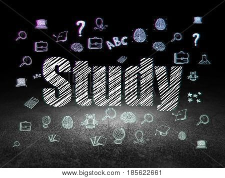 Studying concept: Glowing text Study,  Hand Drawn Education Icons in grunge dark room with Dirty Floor, black background