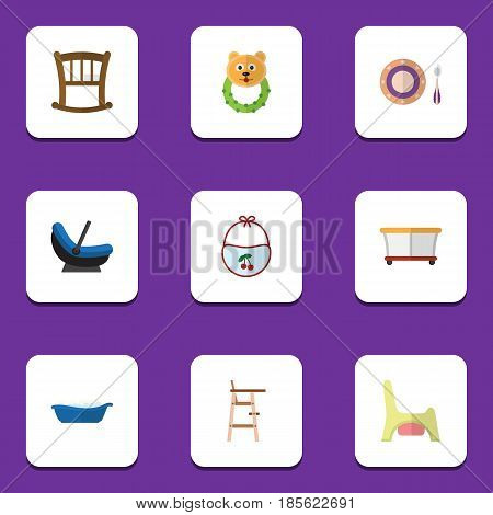 Flat Baby Set Of Rattle, Playground, Infant Cot And Other Vector Objects. Also Includes Plate, Cradle, Pinafore Elements.