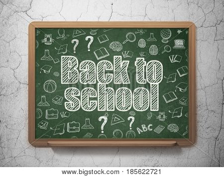 Learning concept: Chalk White text Back to School on School board background with  Hand Drawn Education Icons, 3D Rendering