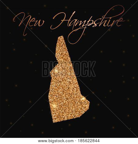 New Hampshire State Map Filled With Golden Glitter. Luxurious Design Element, Vector Illustration.