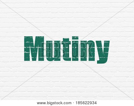 Political concept: Painted green text Mutiny on White Brick wall background