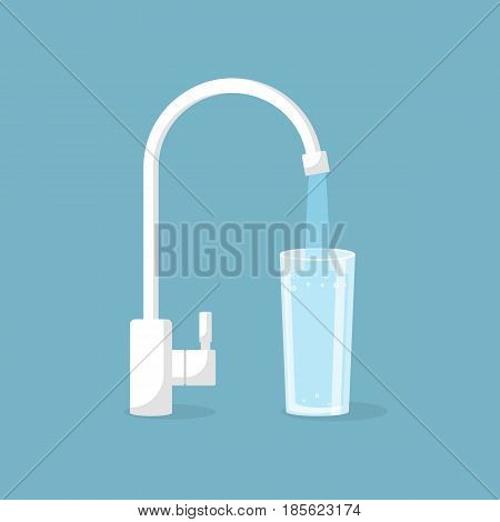 Water tap with glass. Kitchen faucet. Glass of clean water. Vector illustration flat design. Isolated on background. Filling cup beverage. Pouring fresh drink.