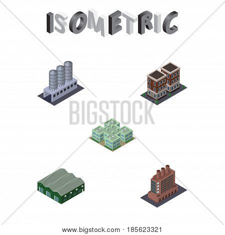 Isometric Building Set Of Clinic, House, Water Storage And Other Vector Objects. Also Includes Clinic, Depot, Factory Elements.