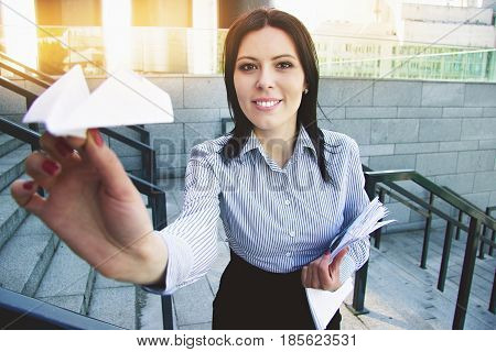 Take Me Away From Office. Portrait Of Attractive And Smiling Business Woman In Smart Casual Wear Lau