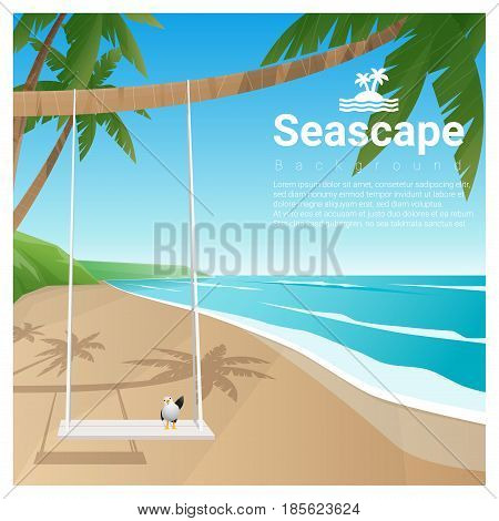 Seascape background with swing on tropical beach , vector , illustration