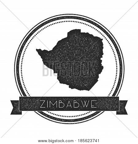 Retro Distressed Zimbabwe Badge With Map. Hipster Round Rubber Stamp With Country Name Banner, Vecto